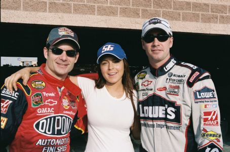 Jimmie Johnson L-R: Jeff Gordon, Lindsay Lohan, . Photo credit: Richard Cartwright.