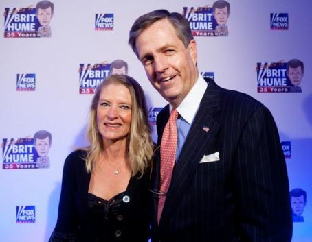 Brit Hume FOX News host  poses with his wife Kim Hume