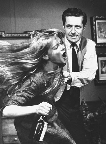 Melinda Dillon  and Arthur Hill in the original Broadway production of Edward Albee's Who's Afraid of Virginia Woolf, 1962.