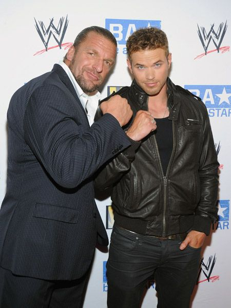 "Paul Levesque - Kellan Lutz hosted the ""be A STAR"" Summer Event with the WWE and Creative Coalition at the Andaz Hotel last night, August 11, in West Hollywood"