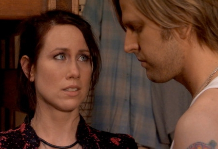 Miriam Shor  as Stephanie and Jayce Bartok as Guy in Mary Stuart Masterson drama 'The Cake Eaters.'