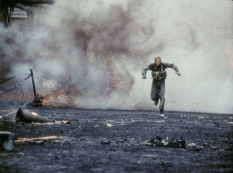Behind Enemy Lines Owen Wilson as Lt. Chris Burnett fleeing a calamitous domino effect of explosions triggered by enemy troops in 20th Century Fox's  - 2001