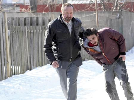 Randy Quaid  as Reuben and Jay Baruchel as Andy Hayes in Real Time.