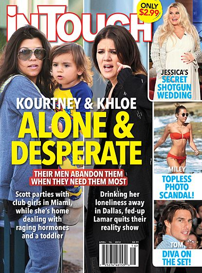 Kourtney Kardashian, Khloé Kardashian - In Touch Weekly Magazine Cover [United States] (16 April 2012)