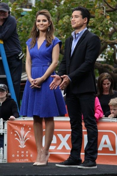 "Maria Menounos & Mario Lopez film a segment for ""Extra!"" at The Grove in Los Angeles, California on January 23, 2013"