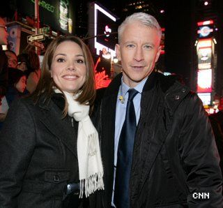 Erica Hill  with Anderson Cooper in Times Square for CNN's New Year's coverage 2008