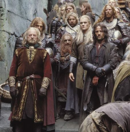 John Rhys-Davies Bernard Hill as Theoden King,  as Gimli, Orlando Bloom as Legolas and Viggo Mortensen as Aragorn in New Line's The Lord of The Rings: The Two Towers - 2002