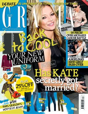 Kate Moss - Grazia Magazine Cover [United Kingdom] (24 August 2010)