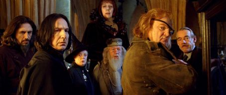 Maggie Smith - (L-r) PEDJA BJELAC as Igor Karkaroff, ALAN RICKMAN as Severus Snape, MAGGIE SMITH as Minerva McGonagall, FRANCES DE LA TOUR as Madame Olympe Maxime, MICHAEL GAMBON as Albus Dumbledore, BRENDAN GLEESON as Alastor 'Mad-Eye' Moody and ROGER LLOYD
