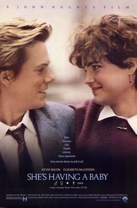 Elizabeth McGovern Kevin Bacon and  in She's Having a Baby Poster (1988)