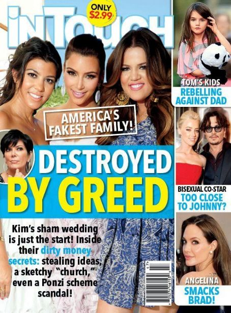 Kim Kardashian, Kourtney Kardashian, Khloé Kardashian, Angelina Jolie, Johnny Depp - In Touch Weekly Magazine Cover [United States] (21 November 2011)