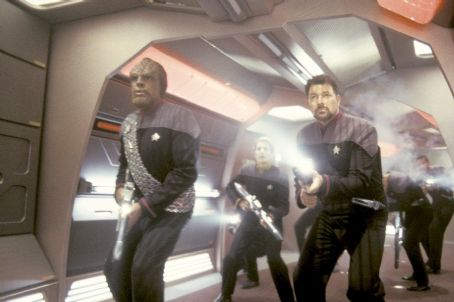 Michael Dorn  as Lieutenant Commander Worf and Jonathan Frakes as Commander William T. Riker in Paramount's Star Trek: Nemesis - 2002