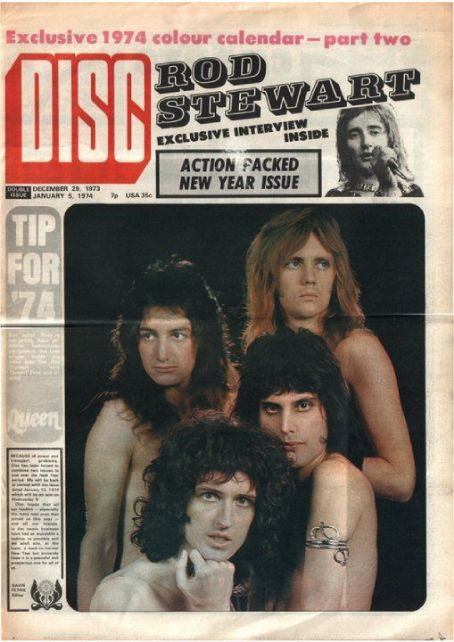 Freddie Mercury, Rod Stewart, Brian May, John Deacon, Roger Taylor - Disc Magazine Cover [United Kingdom] (28 December 1973)