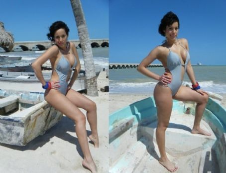 Debora Comba  - Light Blue Bikini Photoshoot