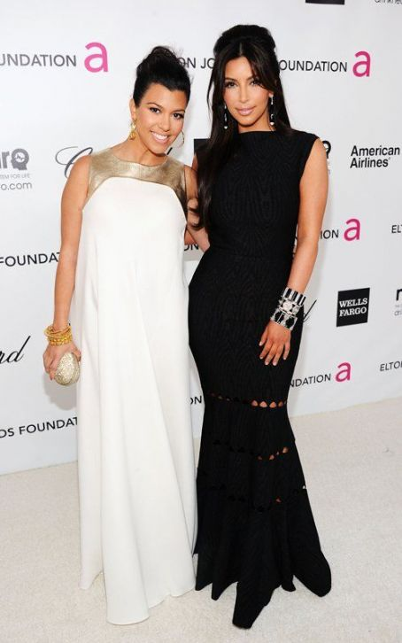 Kim & Kourtney Kardashian: 2012 Elton John Oscar Party Girls