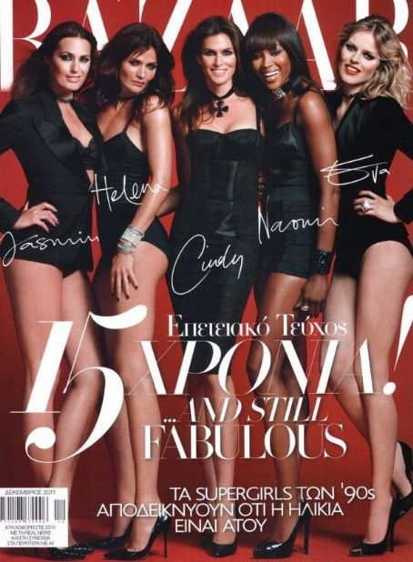 Helena Christensen, Cindy Crawford, Eva Herzigova, Naomi Campbell - Harper's Bazaar Magazine Cover [Greece] (December 2011)