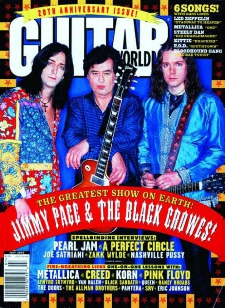 Jimmy Page, Chris Robinson, Rich Robinson - Guitar World Magazine Cover [United States] (July 2000)