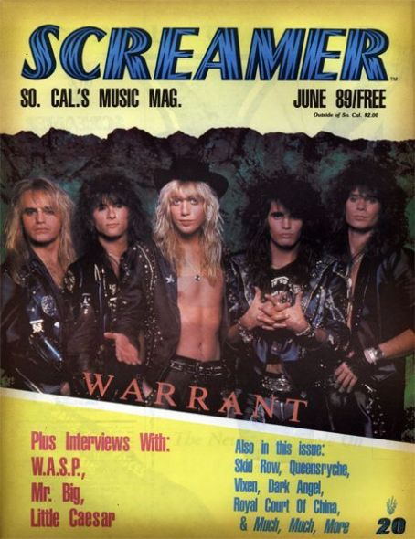 Jani Lane, Joey Allen, Jerry Dixon, Erik Turner, Steven Sweet - Screamer Magazine Cover [United States] (June 1989)