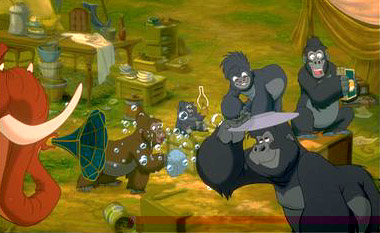 Tarzan Tantor the elephant joins Terk and the other gorillas in Disney's  - 1999