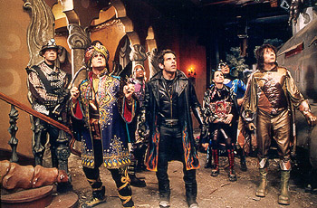 Wes Studi William H. Macy, Hank Azaria, Kel Mitchell, Ben Stiller, Janeane Garofalo, , and Paul Reubens in Universal's Mystery Men - 1999