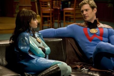 Danielle Harris  as Felicia Freeze and Ryan McPartlin as Will Powers in Super Capers. Photo by Phil Nee.