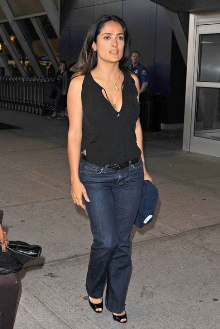 Salma Hayek: at JFK Airport