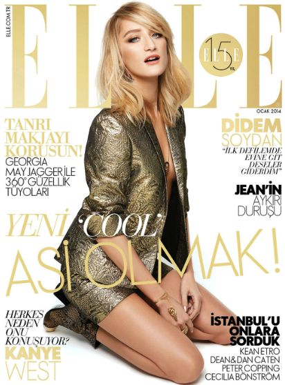 Didem Soydan - Elle Magazine Cover [Turkey] (January 2014)