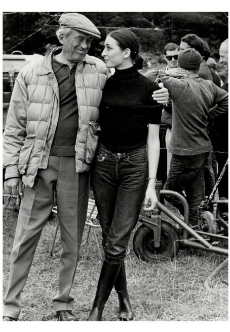 Film Director John Huston With His 16-year-old Daughter Anjelica Huston On Set