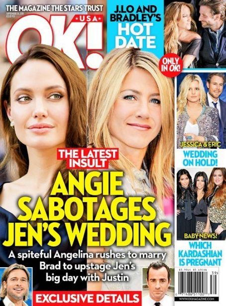 Jennifer Aniston, Angelina Jolie - OK! Magazine Cover [United States] (18 September 2011)