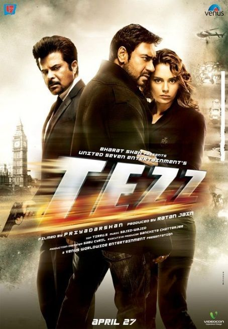 Ajay Devgan and Kangana Ranaut Tezz 2012 Bolywood Movie Poster
