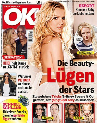 Britney Spears, Heidi Klum, Megan Fox, Beyoncé Knowles - OK! Magazine Cover [Germany] (18 August 2011)