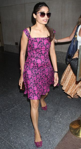 "Freida Pinto leaves ""Access Hollywood Live"" on July 11, 2012 in New York City, New York"