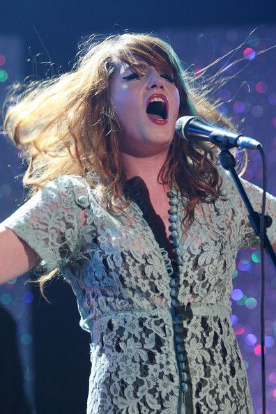 Florence Welch  and the Machine perform as the Brit awards nominations are announce, 2009.