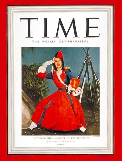 Lily Pons - Time Magazine [United States] (23 December 1940)
