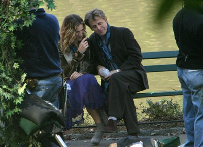 Mikhail Baryshnikov Sarah Jessica Parker and  on Location for 'Sex and the City' - October 16, 2003