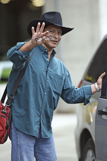 Gil Birmingham Arriving at Vancouver for Eclipse filming