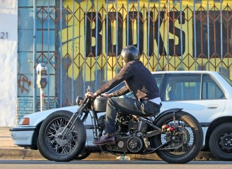 David Beckham Cruising His Motorcycle In Hollywood