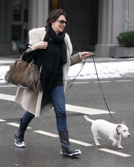 Iris Berben Walking Her Dog In Berlin