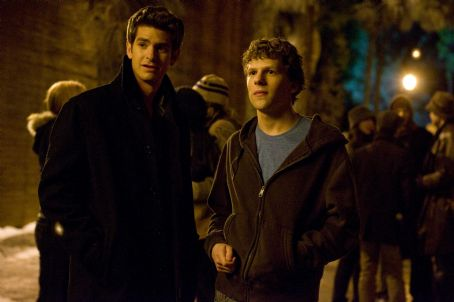 Eduardo Saverin Andrew Garfield, left, and Jesse Eisenberg stars as 'Mark Zuckerberg' in Columbia Pictures' THE SOCIAL NETWORK. Photo By: Merrick Morton. © 2010 Columbia Tristar Marketing Group, Inc. All rights reserved.