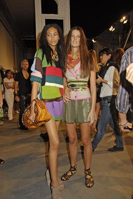 Alexandra Tomlinson Backstage at Etro with Chanel Iman