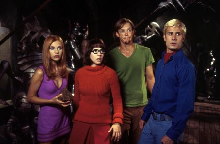 Velma Sarah Michelle Gellar as Daphne, Linda Cardellini as , Matthew Lillard as Shaggy and Freddie Prinze Jr. as Fred in Warner Brothers' Scooby Doo - 2002